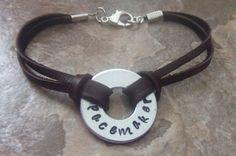 Handstamped Silver and Leather Medical Alert by BraceletsbyLinda