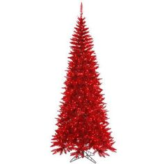 """Vickerman 6' 5"""" Red Colorful Slim Fir Artificial Christmas Tree with 400 Mini Lights"""