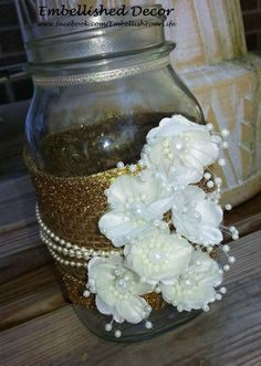 Lace and Pearl Centerpieces | Rustic Wedding Burlap Lace Pearl Ball Mason Jars Centerpieces Home ...
