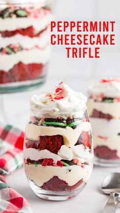 Red velvet cake layered with peppermint cream cheese filling, mint Oreos, Cool Whip and peppermint crunch candies fills this peppermint cheesecake trifle. This festive, layered, holiday dessert will serve (and wow!) a crowd. A Christmas trifle should be on every Christmas dessert table. And yes, every Christmas has to have a dessert table. Christmas Trifle, Christmas Snacks, Christmas Tea, Cheesecake Trifle, Peppermint Cheesecake, Christmas Desserts, Christmas Recipes, Holiday Recipes, Dessert Table