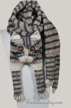 Tigerkatze grau Cat Schal stricken Schal grau Schal von Eastalace
