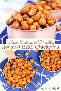 BBQ Roasted Chickpeas recipe - Crispy chickpeas baked in the oven for a quick and healthy snack or clean eating appetizer that tastes like your favorite tangy bbq chips. An easy, healthy and delicious savory snack idea that's full of protein and fiber. You'll love this homemade snack. Vegan, Vegetarian, Gluten Free / Running in a Skirt #bbq #chickpeas #vegetarian #vegan #cleaneating #healthysnack #recipe #snack