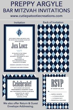 Preppy Argyle Bar Mitzvah Invitations in Navy Blue, Light Blue and White by Cutie Patootie Creations. Can be custom designed as a Bat Mitzvah Invitation or B'Nai Mitzvah Invitation. SHOP www.cutiepatootiecreations.com for our large variety of Bar & Bat Mitzvah Invites, Mitzvah Socks, Mitzvah Logos, Place Cards and more.