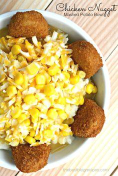 Easy Chicken Nugget Mashed Potato Bowls on MyRecipeMagic.com