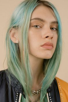 Name: Sasha Belyaeva DOB: November 1998 From: Russia Hair: mint green, brown Eyes: green Height: Weight: 106 lbs Measurements: inches Hair Inspo, Hair Inspiration, Character Inspiration, Hunger Magazine, Blue Haired Girl, Light Blue Hair, Coloured Hair, Dye My Hair, Funky Hairstyles
