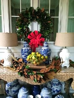 Blue and White Christmas Decor The Pink Pagoda: Blue and White Monday with Parker Kennedy