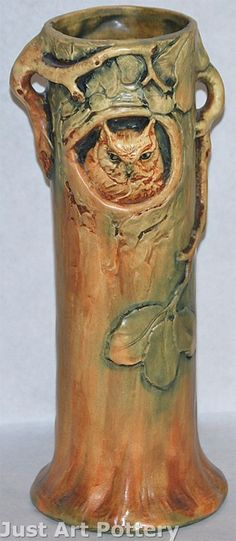 Weller Pottery Woodcraft Owl and Tree Vase from Just Art Pottery