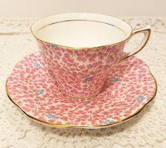 Vintage Rosina Pink Floral Bone China Tea Cup & Saucer