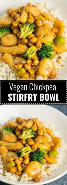 Vegan Chickpea Stirfry Bowl recipe #vegan #glutenfree #chickpeastirfry #veganstirfry
