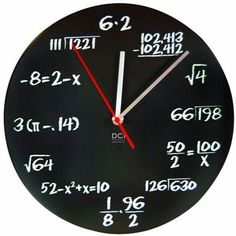 If you want to figure out what time it is, youll have to solve a simple math problem on this clock first. This Mathematics Pop Quiz Wall Clock is perfect for any geek, math nerd, math teacher, or sadist who wants to confuse the hell out of non-nerds. Eclectic Clocks, Math Clock, Traditional Clocks, Math Wall, Clock Numbers, Home Music, Blackboards, Teacher Gifts, Math Teacher