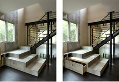 Hidden stair storage by KUBE architecture Stair Storage, Storage Design, Washington Dc, Bunk Beds, Brick, Stairs, Inspiration, Architecture, Places