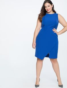 53d8631bc9f9 Shift Dress with Asym Wrap Cosmic Blue Size 14