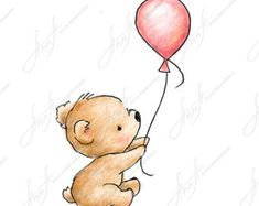 The drawing of cute teddy bear with pink balloon. Printable Art. Digital file. Instant Download