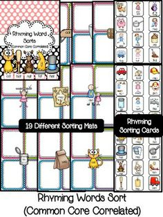 RHYMING WORD SORTS (COMMON CORE CORRELATED) - 19 different word family sorting mats in color as well as B&W with rhyming word family sorting cards for each sorting mat-  GREAT for word work!