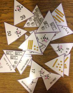 Game: representations of a number. Triangle Maths, Math Stations, Math Centers, Math Games, Math Activities, Math Logo, Daily 3 Math, Montessori Math, Education Logo