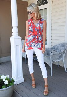 Pretty summer, vacay look, floral wrap top, white cropped jeans, cognac wedge espadrilles, aviators, tiaras and heels blog