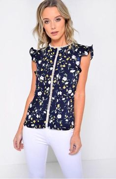 Floral top with Frill Cap Sleeves -Contrast Crotchet Trim -Keyhole Detail at Back PolyesterLength from Shoulder to Hem: 59 cm Jeans Skinny, Blazer, Crotchet, Mannequin, No Frills, Cap Sleeves, Floral Tops, Contrast, Blouse