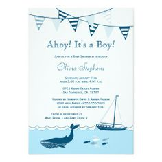 Blue nautical sailboat baby boy shower invitation http://www.zazzle.com/blue_nautical_sailboat_baby_boy_shower_invitation-161408758778006544?rf=238194283948490074&tc=pfz