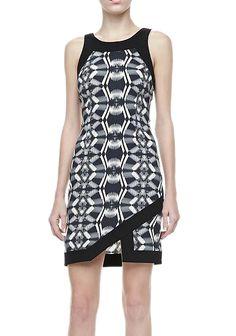 Black Sleeveless Geometric Print Dress