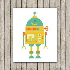 Robot Print Instant Download Robot Art Print от MossAndTwigPrints, $5.00