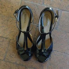 Merona Faux Patent Leather T-strap Shoe Black faux patent leather t-strap heeled sandal. Worn three time to indoor dance class. Minimal signs of wear, on heels as shown. Merona Shoes Heels