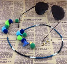 GL202 10PCS/Lot Free Shipping latest ladies eyewear products colorful tassel gold coin pom pom ball sunglass chains holder