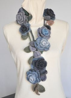 RESERVED - ROSA x3 and Ruffle -  Crochet Scarves. $110.00, via Etsy.