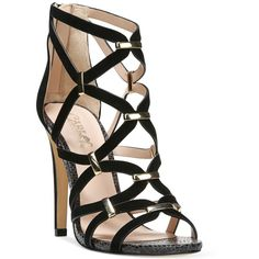 Carlos By Carlos Santana Paulina Cage Dress Sandals ($89) ❤ liked on Polyvore featuring shoes, sandals, black, black sandals, dress sandals, black shoes, kohl shoes and caged sandals