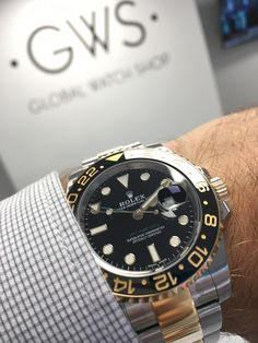 Global Watch Shop offer an beautiful range of bimetal watches like the Rolex GMT-Master II in steel & yellow gold with black dial Get it now. Rolex Gmt Master, Pre Owned Rolex, Rolex Submariner, Luxury Watches For Men, Audemars Piguet, Modern Man, Stainless Steel Case, Gq, Rolex Watches