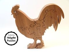 Rooster puzzle wood puzzle in cherry with Swarovski crystal