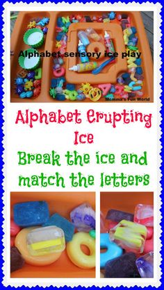 Alphabet Ice sensory play and fun matching learning game.