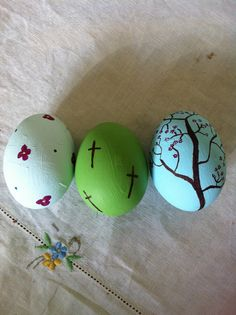 Easter crafts: paint and sharpie pens.