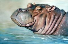 When I see this, I think of my daughter and her love of Hippos. Amazing watercolour.