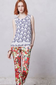 f709a9927a1a Mixed prints - Peter Som for Anthropologie/Aubrey Zebra Blouse and the  Kelly Poppy Trousers