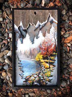 Wood Burning Crafts, Wood Burning Art, Wood Pallet Art, Wooden Art, Wooden Crafts, Painting On Wood, Painting & Drawing, Winter Painting, 3d Laser Printer