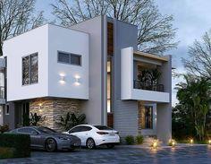 Exterior Villa Modern House Plans 18 Ideas For 2019 Duplex House Plans, Modern House Plans, Modern House Facades, Modern Villa Design, Contemporary Home Exteriors, Minimal House Design, Appartement Design, House Front Design, Dream House Exterior