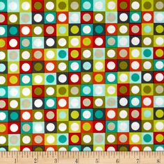 Michael Miller Bot Boy Bot Dot Retro from @fabricdotcom  Designed for Michael Miller Fabrics, this cotton print fabric is perfect for quilting, craft projects, apparel and home decor accents. Colors include grey, teal, red, orange, lime green. light blue, beige and white.