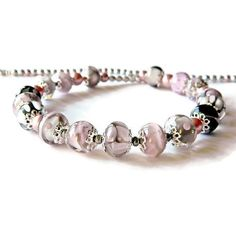 Pink Grey Lampwork necklace, Romantic glass bead necklace, Powder... (140 BGN) ❤ liked on Polyvore featuring jewelry and necklaces