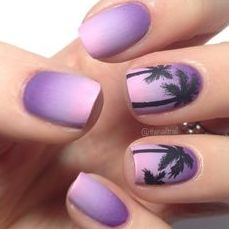 Purple Ombre Palm Tree Nails- perfect for a summer night out or simply for a day chillaxing at the beach! FOLLOW ME: Awesome_Annie29