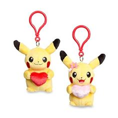 Perfect Pair Pikachu Pokémon Petit Plush (2 pack) |  Two Pikachu, one male and one female, together as Pokémon Petit plush! Each of these perfect little keychain Pokémon is holding a single heart, one pink and one red, as a sign of love and friendship. Keep them together on a keychain or backpack, or give one to a friend! |  Country of Origin: China | Item Dimensions: | 4.25 inches (W) | 3.25 inches (H) | 5.00 inches (L) | $14.99