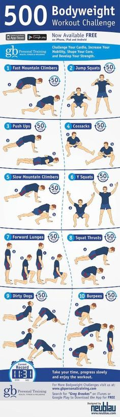 500 Bodyweight Challenge Infographic... exactly what I have been looking for! by ZaraFee