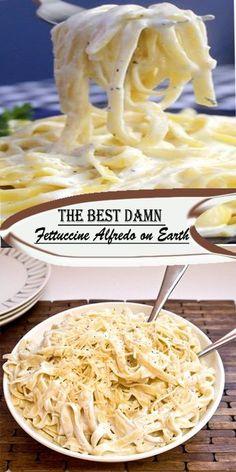 Fetuccini Alfredo Recipe, Alfredo Sauce Recipe Easy, Garlic Alfredo Recipe, Garlic Pasta, Best Easy Dinner Recipes, Best Pasta Recipes, Pasta Dinner Recipes, Cooking Recipes, Lasagna