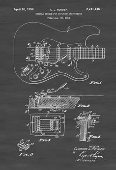 Fender Guitar Tremolo Patent - Patent Print, Wall Decor, Music Poster, Music Art, Musical Instrument Patent, Guitar Patent, Fender by publiclens on Etsy