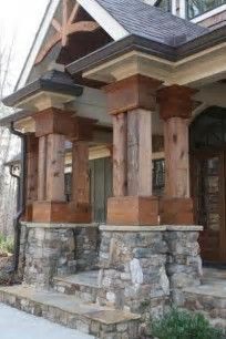 Image Result For Cedar Columns With Stone Base
