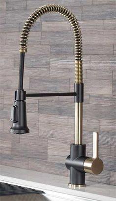 Gold Kitchen Utensils, Gold Kitchen Hardware, Gold Kitchen Faucet, Best Kitchen Faucets, Gold Faucet, Bronze Kitchen, Black Kitchen Cabinets, Kitchen Appliances, Farmhouse Faucet