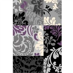 Urban Gray Black And Purple Floral Rug