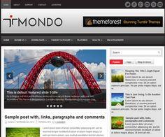 Mondo Blogger Template é um template blogger para blog de noticiais, tecnologia e etc. Com layout elegante, Mondo tem 2 colunas, 1 sidebar direita, 4 colunas de rodapé, resumo de postagem leia mais, guias de widget, menus drop-down, slide de conteúdo em d