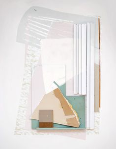 Katie Bell, Tear Peak   6.5 x 10 ft  Acrylic, vinyl, plaster, nails, wood, drywall, foam, laminant, and vertical blinds on wall