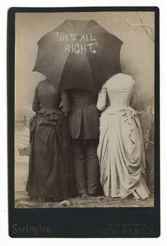 "1888 Benjamin Harrison campaign slogan ""He's All Right"" Cabinet card.  Why are 3 people hiding behind an Umbrella?"