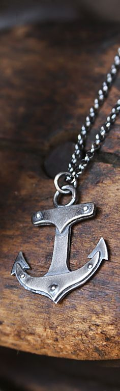 """Limited Edition sterling silver """"Anchor"""" necklace with rivets, great industrial look, oxidized finish. Anchor Necklace, Men Necklace, Fashion Necklace, Fashion Jewelry, Necklace Ideas, Men's Jewelry Rings, Jewelry Gifts, Jewelery, Nautical Jewelry"""